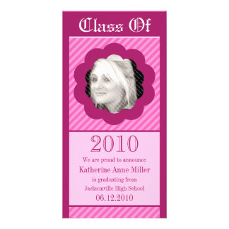 Pink Punk Cookie Cut Out Graduation Photo Card