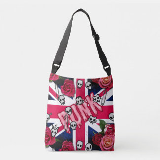 Pink Punk Grunge Union Jack with Emojis and Roses Crossbody Bag