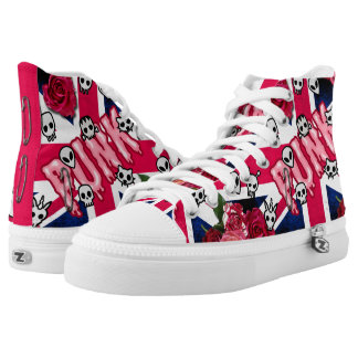 Pink Punk Grunge Union Jack with Emojis and Roses High Tops