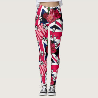 Pink Punk Grunge Union Jack with Emojis and Roses Leggings