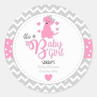 Pink Puppy Baby Shower Stickers
