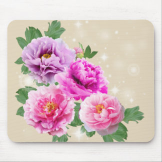 Pink purle flowers peonies mouse pad