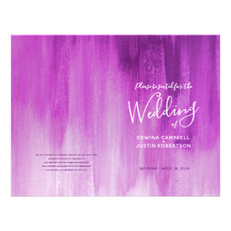 Pink purple abstract art wedding programme flyer