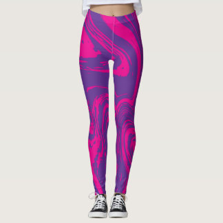 Pink purple abstract digital pattern legging