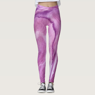 "Pink & Purple Abstract Leggings - ""First Blush"""