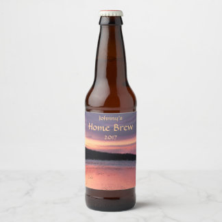 Pink Purple Abstract Sunset Ocean Wave Beer Label