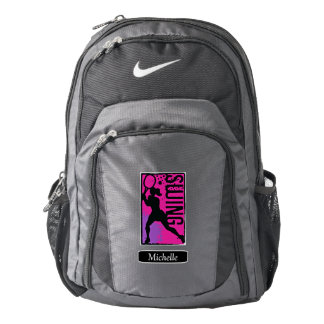 Pink Purple Abstract Tennis Girl Personalized Backpack