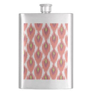 Pink Purple Abstract Tribal Ikat Diamond Pattern Flasks