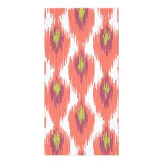 Pink Purple Abstract Tribal Ikat Diamond Pattern Personalized Photo Card