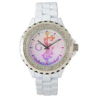 PINK PURPLE ANCHOR WITH FISH NAUTICAL MONOGRAM WRIST WATCH