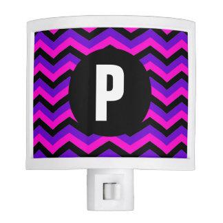 Pink, Purple and Black Zigzag Monogram Night Light