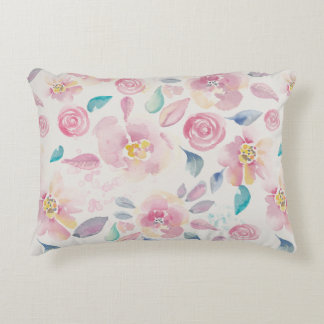 Pink Purple and Blue Floral pattern Accent Pillow