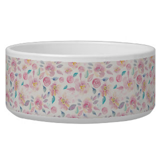 Pink Purple and Blue Floral pattern Dog Food Bowls