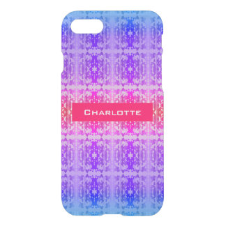 Pink, Purple and Blue Fractal Monogram iPhone 7 Case