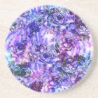 Pink, Purple, and Blue Watercolor Roses Coaster