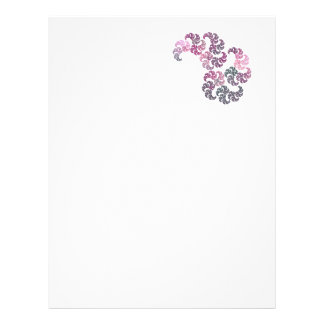 Pink Purple and Gray Paisley Fractal Art Design Letterhead