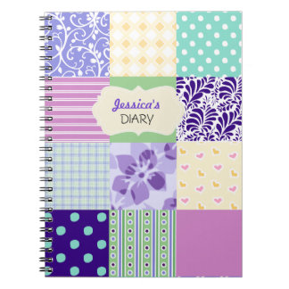 Pink, Purple and Green Personalized Girly Diary Notebooks