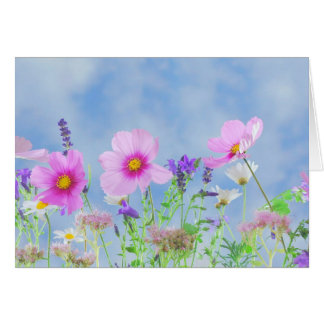 Pink Purple and White Wildflower Greeting Card
