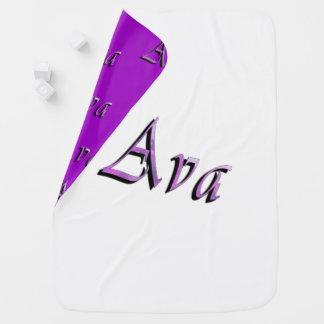 Pink Purple Ava Name Logo, Baby Blanket