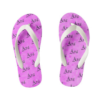 Pink Purple Ava Name Logo, Kid's Flip Flops