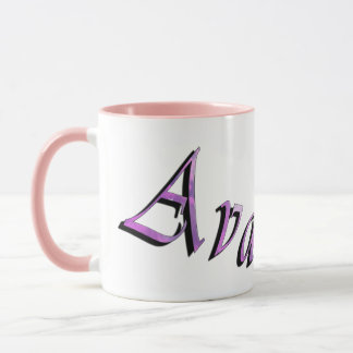 Pink Purple Ava Name Logo, Mug