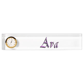 Pink Purple Ava Name Logo, Nameplate