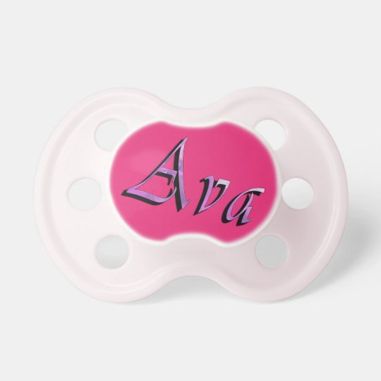 Pink Purple Ava Name Logo, Pacifier