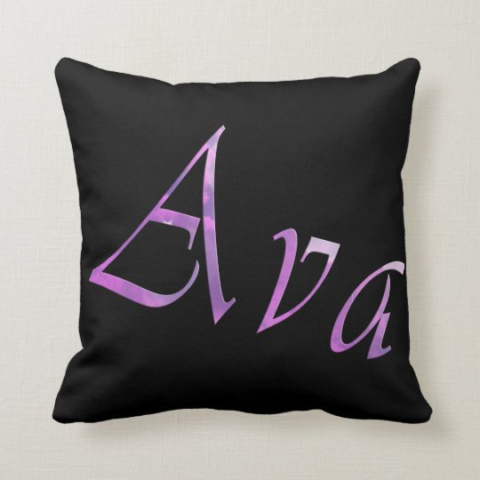 Pink Purple Ava Name Logo, Throw Pillow