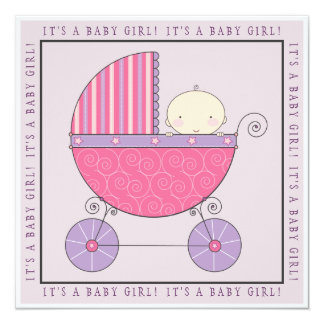 Pink & Purple Baby in Carriage Girl Baby Shower Card