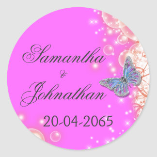 Pink purple blue butterfly wedding classic round sticker