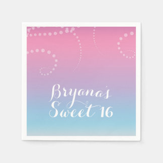 Pink Purple Blue Dipped Birthday Party Custom Disposable Napkin