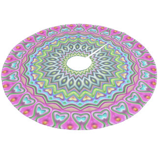 Pink Purple Blue Lime Green Mandala Star Pattern Fleece Tree Skirt