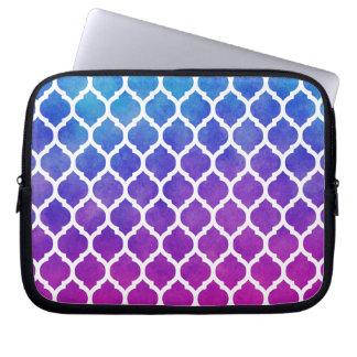 Pink Purple Blue Ombre Moroccan Lattice Laptop Sleeve