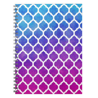 Pink Purple Blue Ombre Moroccan Lattice Notebooks
