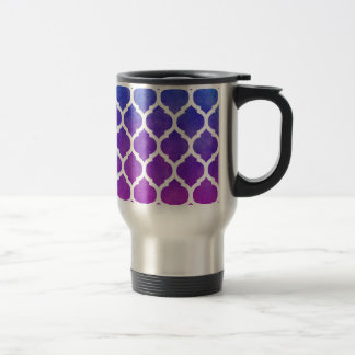 Pink Purple Blue Ombre Moroccan Lattice Travel Mug