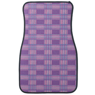pink purple blue plaid car mat