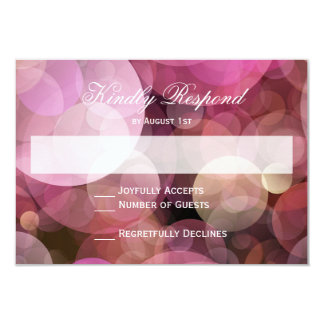 Pink Purple Bokeh Abstract Wedding RSVP Cards