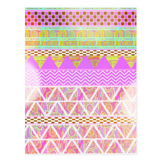 Pink Purple Bright Ethnic Abstract Bokeh Pattern Postcard