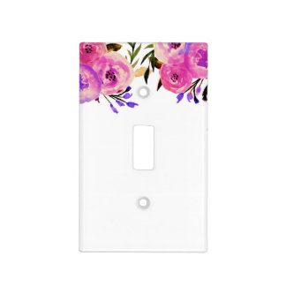 Pink & Purple Bright Modern Watercolor Floral Chic Light Switch Cover