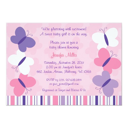 Pink Purple Butterfly Baby Shower Invitations Zazzle Ca