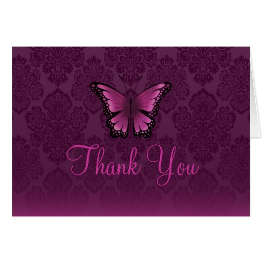 Pink/Purple Butterfly & Damask Thank You card