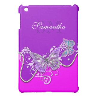 Pink purple butterfly monogram iPad mini case