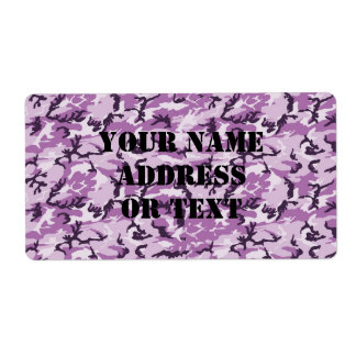Pink & Purple Camouflage Background Shipping Label