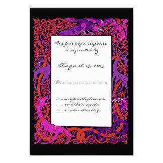 Pink & Purple Celtic Animals Design Wedding RSVP Custom Invite