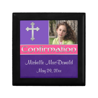 Pink, Purple Confirmation Keepsake Jewelry Box