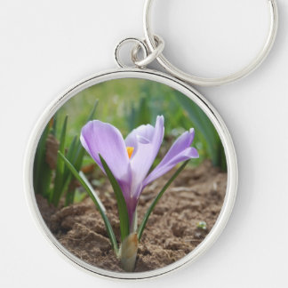 Pink Purple Crocus Vernus Flower Keychain