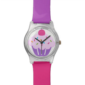 Pink & Purple Cupcake with Cherry Watch