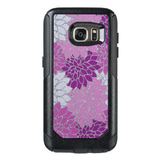 Pink Purple Dahlia flowers, silver glitter OtterBox Samsung Galaxy S7 Case