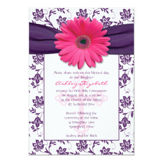 Pink Purple Daisy First Communion Invitation
