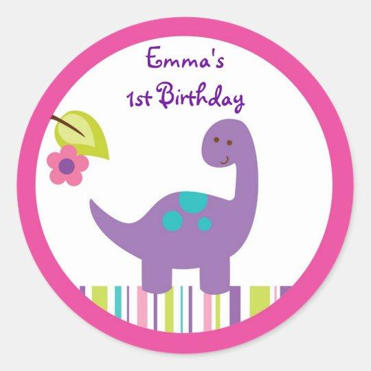 Pink & Purple Dinosaur Baby Shower Classic Round Sticker